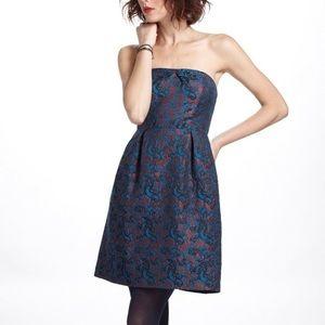 Anthropologie Leifnotes Brocade Blue Paprika Dress